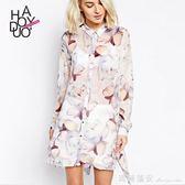 2018春季新款女裝 歐美時尚花朵印花雪紡寬鬆襯衫洋裝 瑪麗蓮安