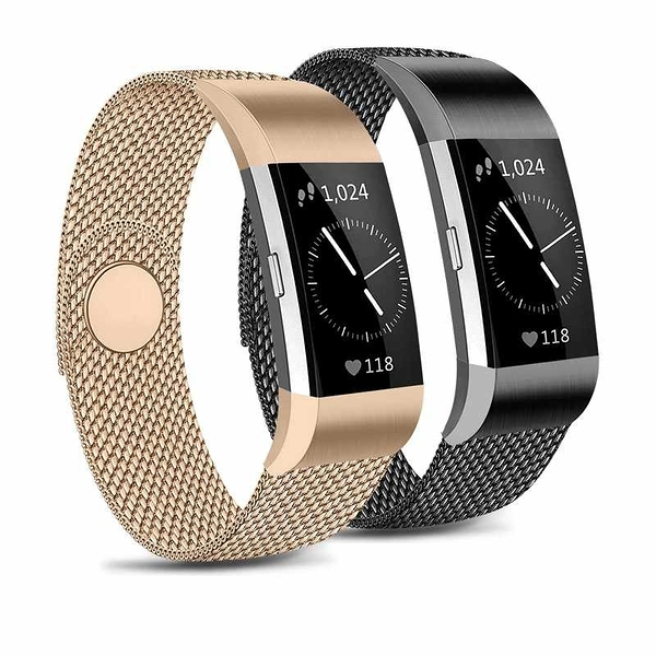 IEOVIEE 金屬錶帶 2入 可調不銹鋼磁吸 L Size 適用Fitbit Charge 2 黑金/粉銀/紫黑 [2美國直購]