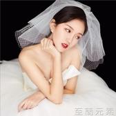 頭紗新款韓式簡約可愛菱格網格多層短款蓬蓬新娘頭紗旅拍婚紗配飾 至簡元素
