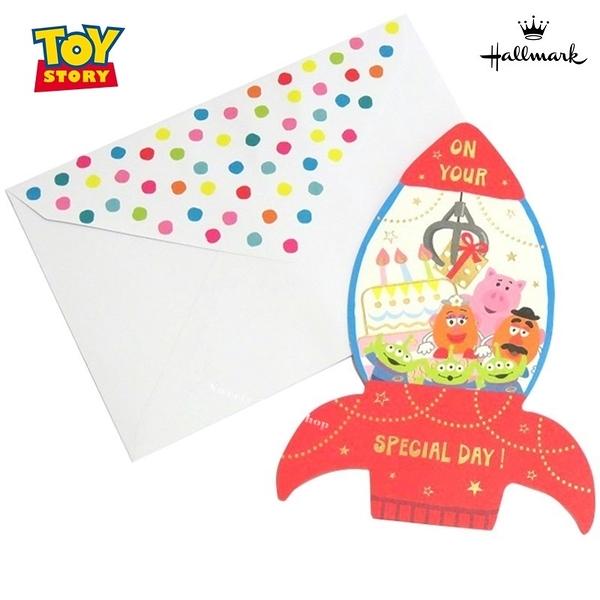 日本限定 迪士尼 × Hallmark 玩具總動員 三眼怪 蛋頭先生 蛋頭太太 火腿 火箭造型 立體 生日卡片