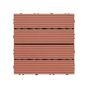 樂嫚妮 塑木地板 30x30cm 五款 9入 0.25坪紅木色