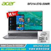 【Acer 宏碁】Swift 3 SF314-57G-50MR 14吋輕薄筆電 銀灰色 【贈威秀電影序號-1月中簡訊發送】