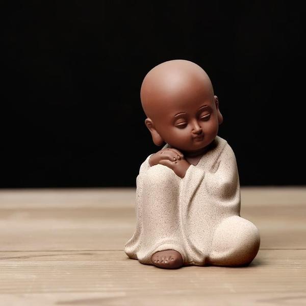功夫茶擺件禪意可愛小和尚茶寵紫砂陶瓷茶藝【聚寶屋】