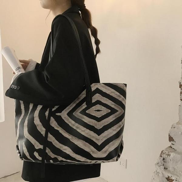 斑馬紋包包女新款潮網紅托特包大學生上課側背包大容量包包