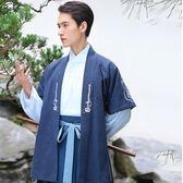 重回漢唐漢服男裝翼德原創設計棉麻外套日常傳統繡花對襟半臂春秋