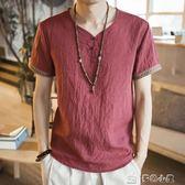 中國風復古唐裝短袖V領亞麻刺繡T恤男裝加肥加大碼汗衫民族風夏季 多色小屋