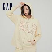 Gap女裝 碳素軟磨系列 Logo法式圈織開襟連帽外套 975199-奶油米色