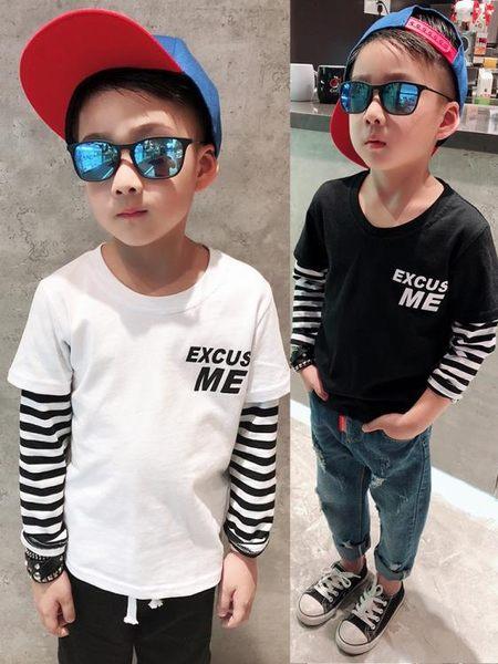 童裝男童帥氣秋裝 兒童大童長袖條紋男孩T恤上衣服 奇思妙想屋