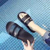 拖鞋女夏季防滑居家室內浴室厚底涼拖鞋家用洗澡韓版情侶男一字潮【黑色地帶】