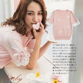 上衣 立體珍珠蝴蝶結拼接蕾絲短袖上衣-粉色-Ruby s 露比午茶