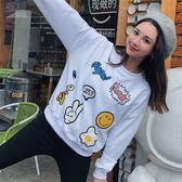 EASON SHOP(GU8035)實拍韓版塗鴉卡通圖片印花下襬袖口縮口圓領長袖T恤落肩寬鬆顯瘦大學T薄款女上衣