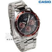 CASIO卡西歐 MTP-1374D-5A 時尚爵士三眼男錶 紳士 防水手錶 不銹鋼 銀x鏽紅錶框 MTP-1374D-5AVDF