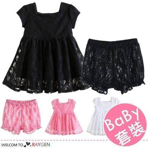 女童公主花邊短袖蕾絲裙+短褲 套裝
