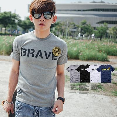 T恤 BRAVE文字立體金色布章短袖T恤【N9572J】