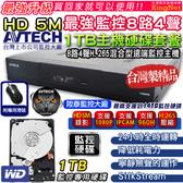 【台灣安防】 陞泰 AVTECH H.265 8路4聲監控主機+1TB監控硬碟 500萬 手機遠端 台灣大廠 AHD TVI 監視器