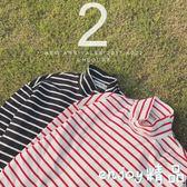 男士t恤 長袖秋裝條紋體恤韓版潮流高領大碼男裝寬鬆打底衫上衣服  enjoy精品