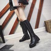 長靴 系帶長靴女秋季新款機車馬丁靴過膝長筒靴高筒瘦瘦騎士靴子潮【諾克男神】