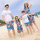 情侶親子套裝 洋裝沙灘雪紡連身裙普通圓領旅游家庭裝一家四-小精靈生活館