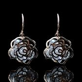 耳環 玫瑰金純銀 鑲鑽 -鏤空玫瑰花生日情人節禮物女飾品73hz49【時尚巴黎】