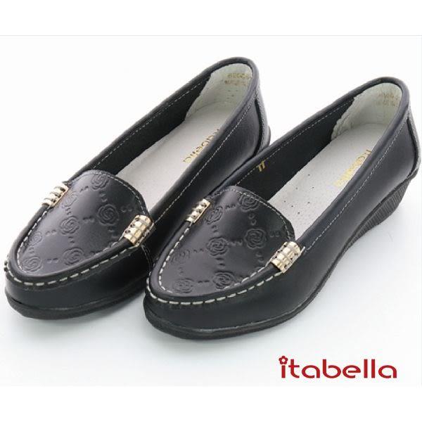 itabella.壓紋花牛皮包鞋(黑色)