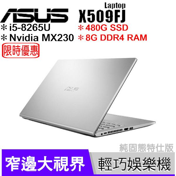 華碩 ASUS X509FJ 銀 480G SSD純固態碟特仕版【升8G/i5 8265U/15.6吋/MX230/四核/筆電/Buy3c奇展】X509F 0131S8265U
