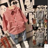童裝 韓 襯衫 條紋 男童 女童 長袖上衣 二色 寶貝童衣