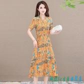 棉麻連身裙洋裝女夏季 2020年新款小個子時尚寬鬆短袖印花收腰顯瘦裙子 OO12011『科炫3C』