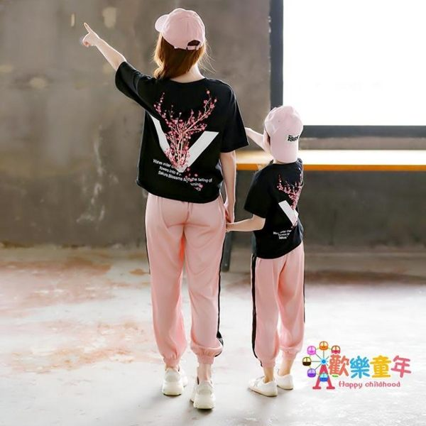 親子裝 母女套裝2019夏裝潮洋氣中大童網紅高端短袖兩件套 1色