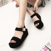 黑色鬆糕厚底涼鞋女鞋高跟厚底楔形魚口羅馬平底潮鞋 檸檬衣捨