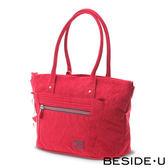 Backbager 背包族【英國 BESIDE-U】EMBOSSING系列 花語壓紋多層次托特包購物袋/(紅色)