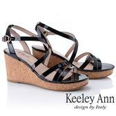 ★2019春夏★Keeley Ann細條帶 韓系牛皮簡約交叉環繞楔形涼鞋(黑色) -Ann系列