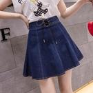 短裙 A字裙 2020夏季新款韓版時尚高腰短裙網紅半身裙防走光裙子純色牛仔裙女