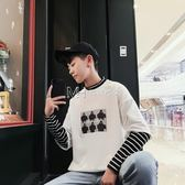 日繫原宿風男裝假兩件長袖條紋T恤百搭寬鬆半高領潮  瑪奇哈朵