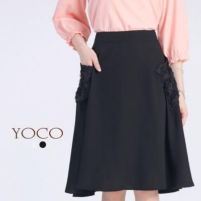 東京著衣【YOCO】立體花朵口袋雪紡及膝裙-XS.S.M(6015764)