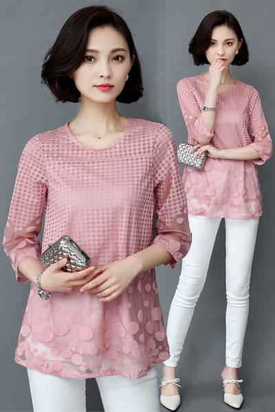 遮肚子雪紡衫短袖女夏裝新款韓版超仙顯瘦寬鬆中長款蕾絲上衣 亞斯藍