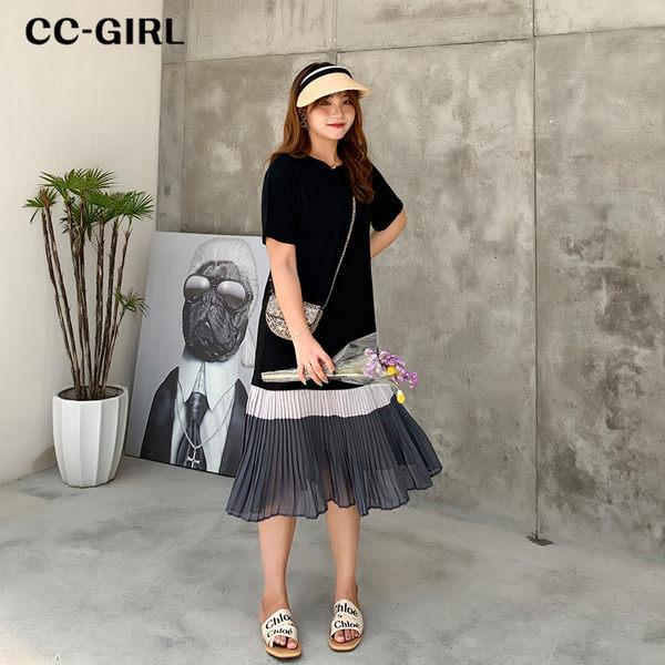 中大尺碼 撞色百褶裙黑色長洋裝 - 適XL~4L《 68416HH 》CC-GIRL