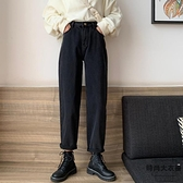 哈倫褲復古高腰顯卷邊九分黑色牛仔褲秋季【時尚大衣櫥】