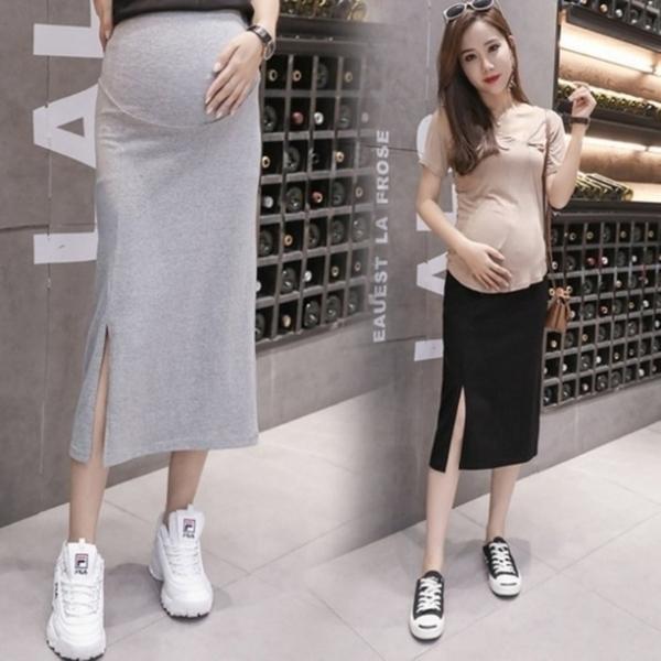 漂亮小媽咪 托腹 長裙 【S6003】 純色 開叉 高腰 托腹 孕婦裙 開岔 孕婦裝