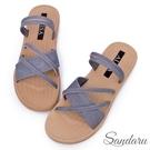 涼鞋 二穿式層次交叉平底拖鞋-藍