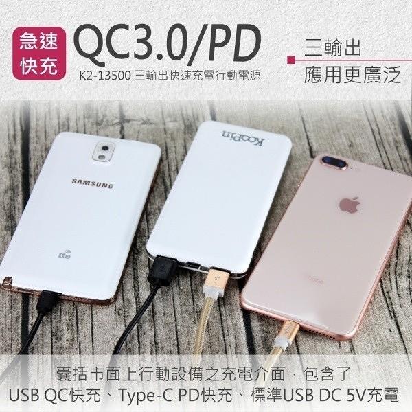 KooPin QC3.0 行動電源/支援PD/雙向QC快充 K2-13500 台灣製造