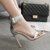 高跟涼鞋 高跟鞋 夏季新款歐美時尚簡約一字皮帶扣細性感女鞋韓版女鞋子【多多鞋包店】ds3990
