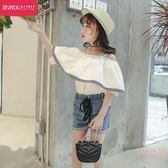 女童新款一字肩T恤韓版時尚兒童洋氣時髦上衣大童公主童裝潮 【販衣小築】