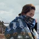 Z家新款幾何美學設計圍巾女冬季加厚超大保暖旅行披肩兩用秋送禮 黛尼時尚精品