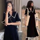大碼洋裝 夏季韓版黑色連身裙女學生時尚洋氣胖mm寬鬆大碼長款過膝長裙子仙 曼慕