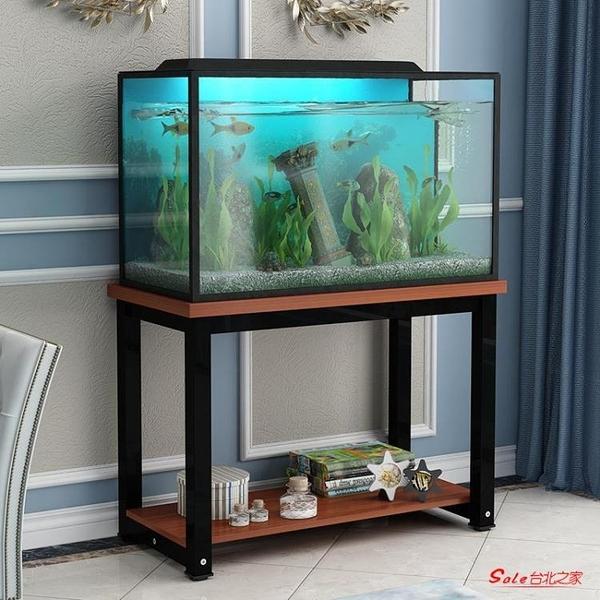 魚缸架 精品鋼木魚缸架子鐵藝實木桌式龜缸置物櫃不銹鋼水族箱缸底座台子T