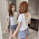 露背上衣 短袖t恤女2020夏季新款修身顯瘦短款ins超火性感露背小心機上衣潮 曼慕衣櫃