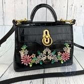 BRAND楓月 Mulberry 黑色 壓紋 彩色 花朵 造型 鑽 皮革 皮質 兩用包 肩背包 手提包 側背包
