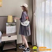 韓版寬鬆寬版中長款ins超火短袖大碼上衣網紅T恤女夏季半袖年新款【happybee】