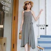 東京著衣-清新削肩腰綁帶條紋洋裝-S.M(181116)