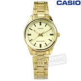 CASIO / LTP-V005G-9A / 卡西歐經典時尚夜光不鏽鋼手錶 鵝黃x鍍金 28mm